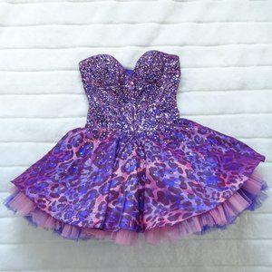 Jovani Strapless Sequins Mini Dress Size 4